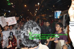 Saptarshi Banerjee (New Socialist Alternative) addressing the protestors